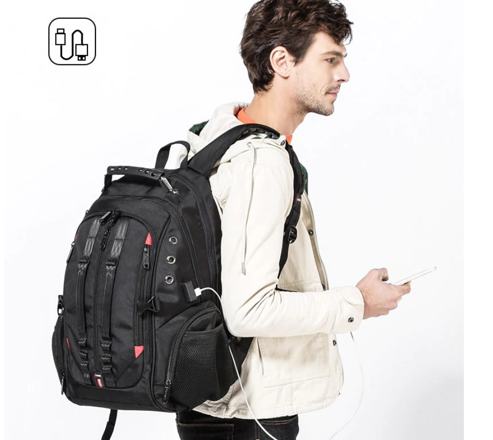 Men's 45L USB Backpack with Raincover