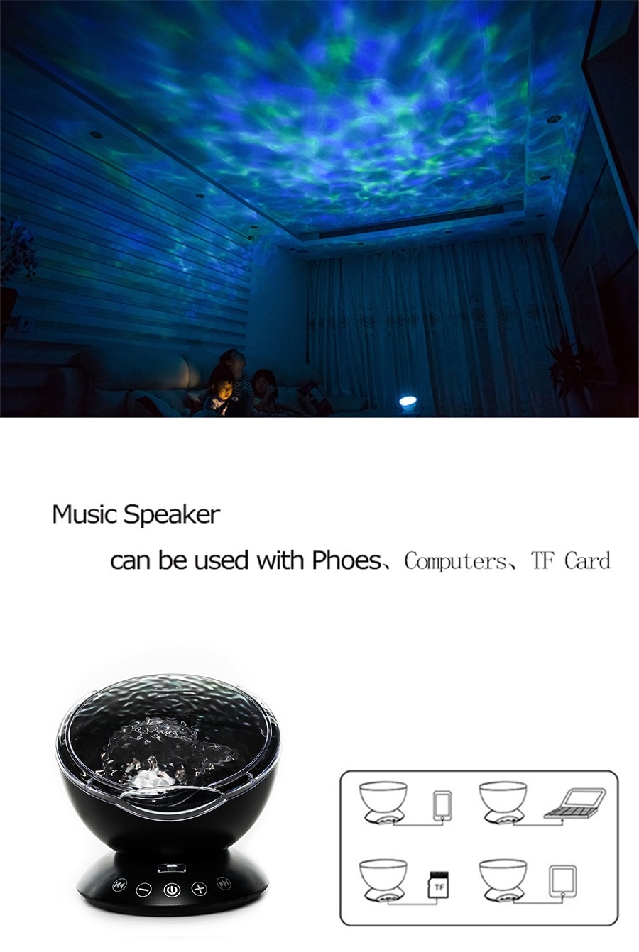 LED Ocean Projector With USB Remote Control