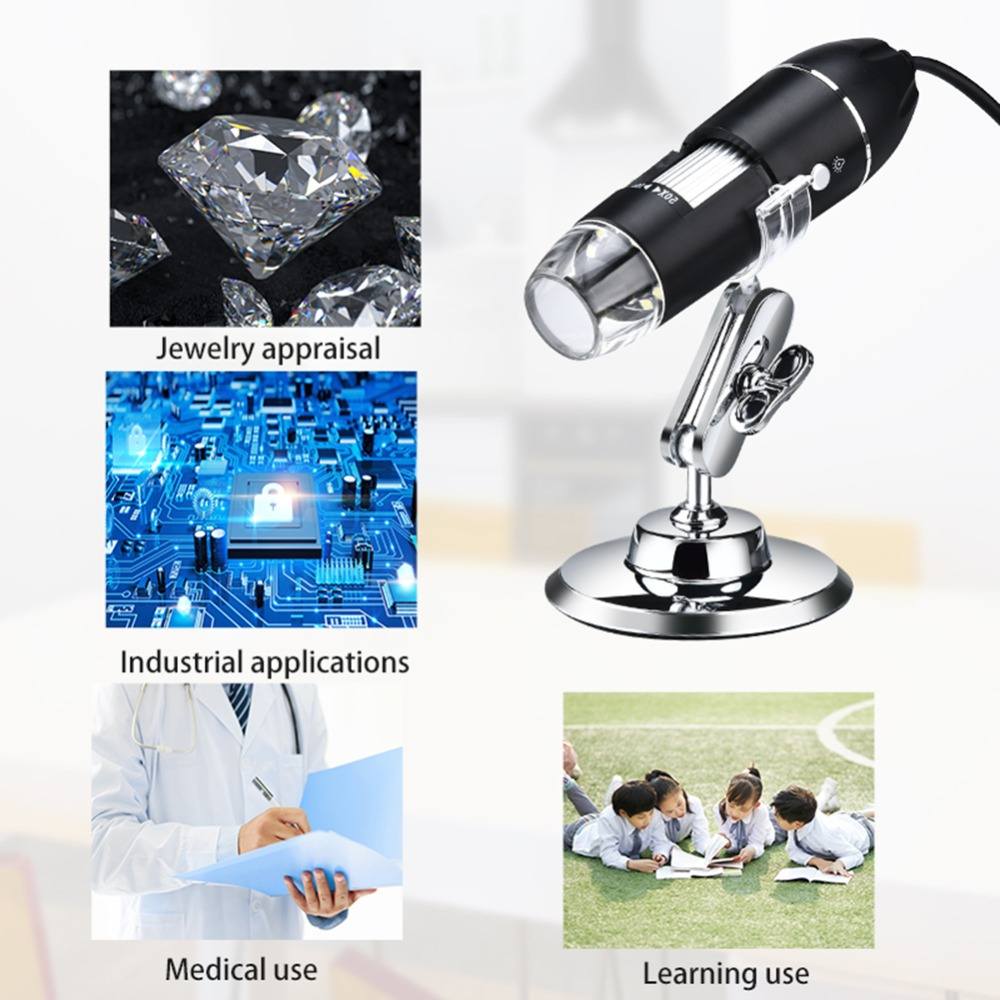 1000X 1600X USB 8 LED Microscope Handheld Camera
