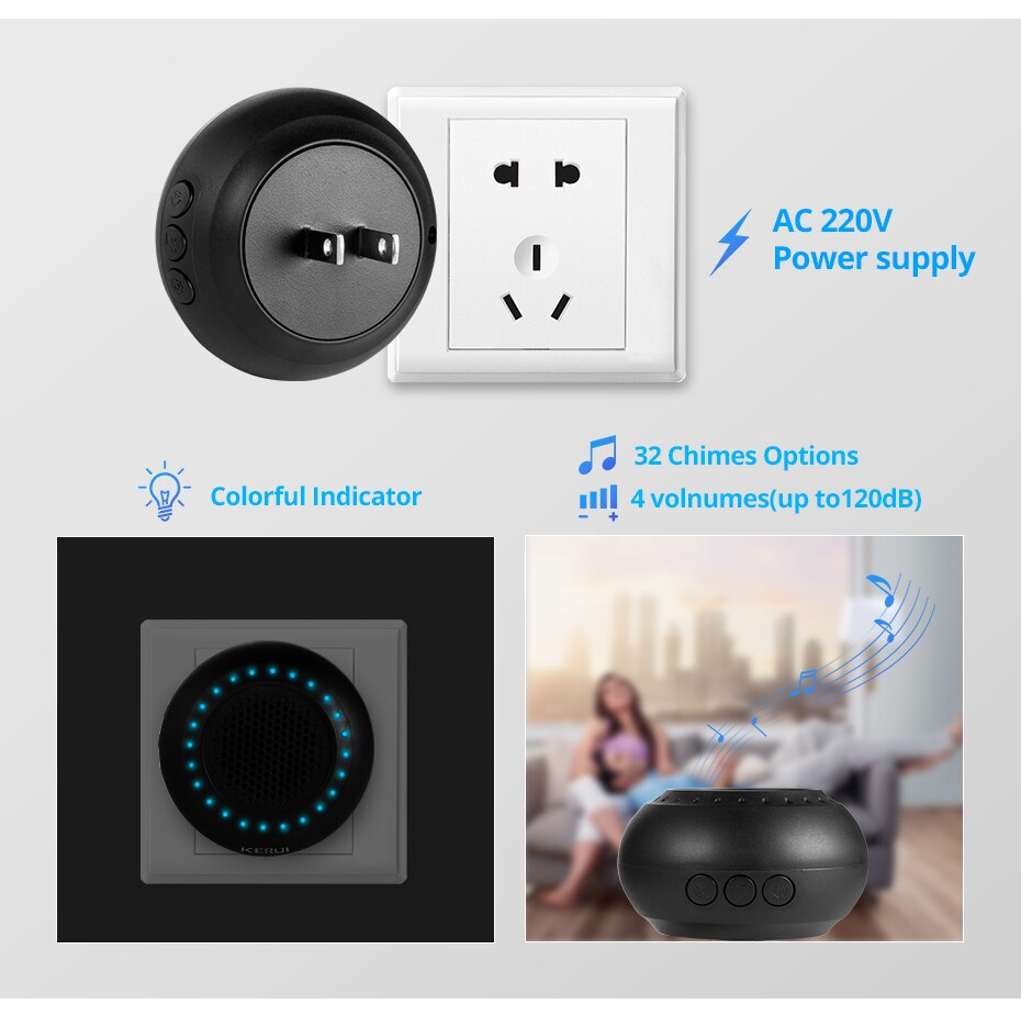 Colorful LED Wireless Doorbell Kit with Touch Button
