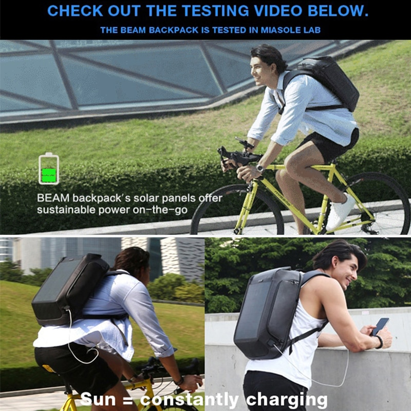 Unisex Laptop Backpack with Solar Panel